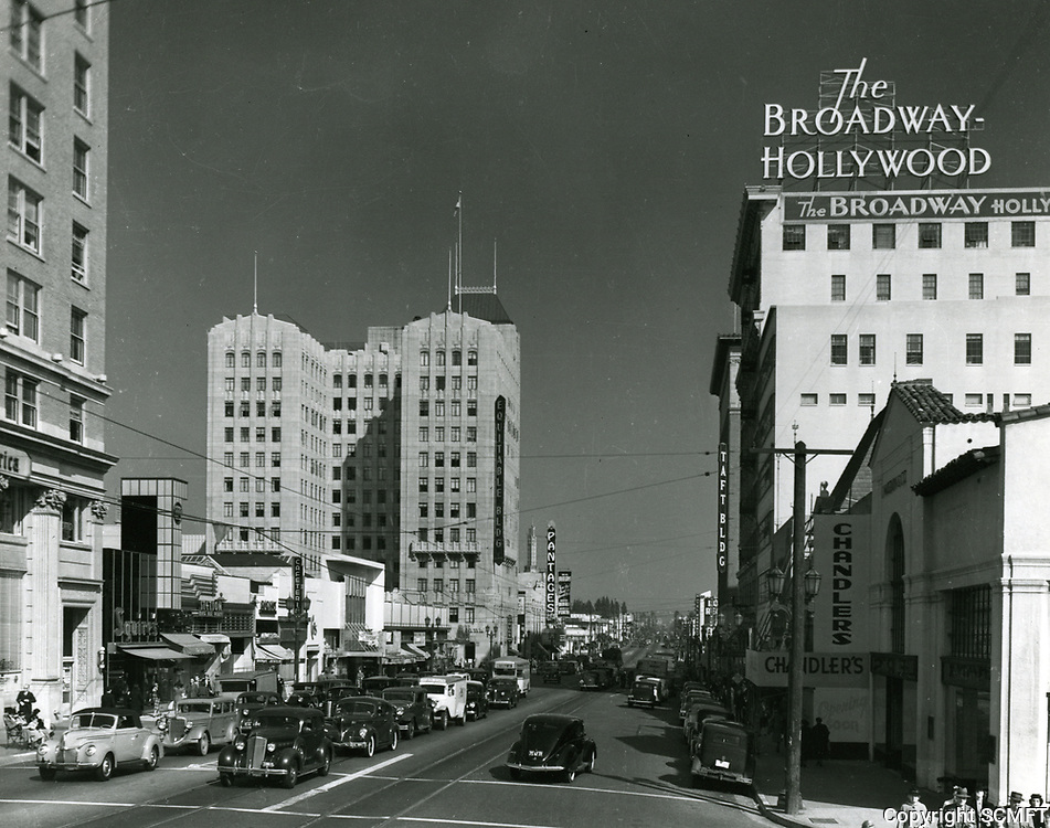 1939 Looking east on Hollywood Blvd. towards Vine St.