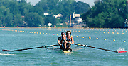 St Catherines, CANADA,  Men's Pair. CAN M2-. Dave CALDER and  Morgan CROOKS..1999 World Rowing Championships - Martindale Pond, Ontario. 08.1999..[Mandatory Credit; Peter Spurrier/Intersport-images]   ...St Catherines, CANADA,  Men's Pair. USA. M2-. .Sebastian BEA and Adam HOLLAND..1999 World Rowing Championships - Martindale Pond, Ontario. 08.1999..[Mandatory Credit; Peter Spurrier/Intersport-images]   ... 1999 FISA. World Rowing Championships, St Catherines, CANADA