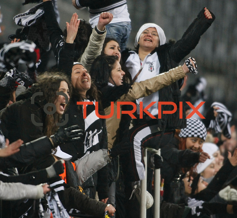 Besiktas's supporters during their Turkey Cup matchday 3 soccer match Besiktas between Gaziantepspor BSB at the Inonu stadium in Istanbul Turkey on Wednesday 11 January 2012. Photo by TURKPIX