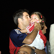 Turkish soccer National team come back to Turkey World Cup 2002 . Turkey's Hakan SUKUR with doughter Zeynep Sude during their in Ataturk Airport in Istanbul/TURKEY.<br /> Photo by Aykut AKICI/TurkSporFoto