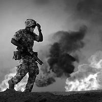 Troops in Iraq.Photograph David Cheskin.
