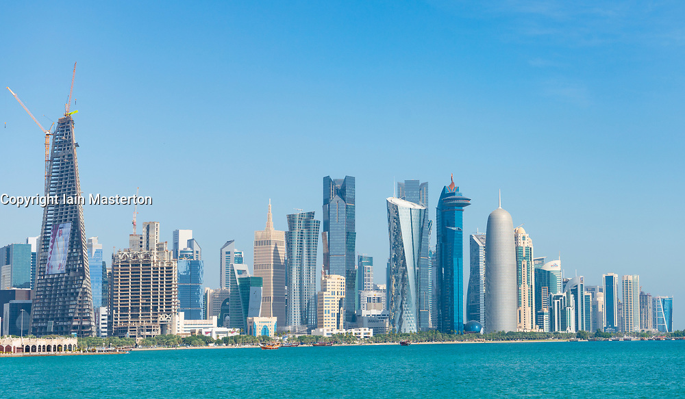 Daytime Skyline view of West Bay business district from The Corniche in Doha, Qatar