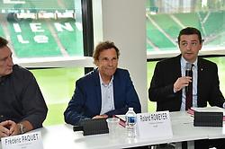 June 15, 2018 - Saint-Etienne - Stade Geoffroy G, France - Frederic Paquet (DG) - Roland Romeyer (president du directoire) - Gael Perdriau  (Credit Image: © Panoramic via ZUMA Press)