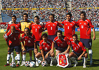 CHILE starting team during their 2010 World Cup qualifying soccer match URUGUAY (2)  Vs. CHILE (2) in Montevideo, Uruguay, November 18, 2007.<br /> © PikoPress