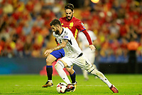 Spain's Isco Alarcon (b) and Albania's Elseid Hysaj during FIFA World Cup 2018 Qualifying Round match. October 6,2017.(ALTERPHOTOS/Acero)