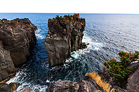 Cape Kadowaki - The stony coastline was created by an eruption of Mt. Omuro 4,000 years ago, while the lava flowed in the sea, then eroded by the tides and finally formed this scenery. The scenery is on such a magnificent and wild scale, it lets visitors feel the power of nature. There is a hiking course of approximately 20 minutes along Jogasaki coast, which passes over the famous Kadowaki Suspension Bridge