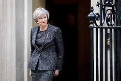 © Licensed to London News Pictures. 09/02/2017. London, UK. British Prime Minister Theresa May (pictured) meets Italian Prime Minister Paolo Gentiloni (not pictured) in Downing Street today. Photo credit : Tom Nicholson/LNP