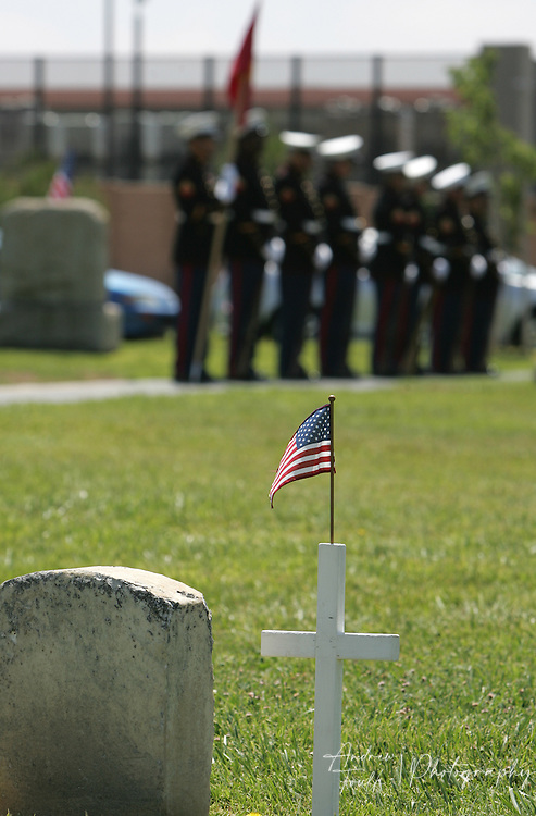 /Andrew Foulk/ For the Californian/.Members of the Semper Fi Memorial Honor Detail, stand at attention during the Memorial Day ceremony at the Lake Elsinore cemetery.