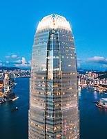 Hong Kong - 29 July 2020: Aerial View of the IFC Tower at night in Hong Kong Island, Central and Western District, Hong Kong.