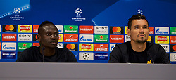 LIVERPOOL, ENGLAND - Monday, May 21, 2018: Liverpool's Sadio Mane and Dejan Lovren during a press conference at Anfield ahead of the UEFA Champions League Final match between Real Madrid CF and Liverpool FC. (Pic by Paul Greenwood/Propaganda)