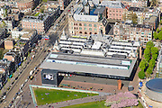 Nederland, Noord-Holland, Amsterdam, 09-04-2014; Museumplein met Stedelijk Museum en links Van Baerlestraat<br /> Museumplein and Stedelijk Museum Amsterdam.<br /> luchtfoto (toeslag op standard tarieven);<br /> aerial photo (additional fee required);<br /> copyright foto/photo Siebe Swart
