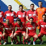 Turkey's players (Left to Right) (Front Row) Gokhan TORE, Mehmet GUVEN, Ugur UCAR, Olcay SAHAN, Yigit Ismail GOKOGLAN, (Left to Right) (Back Row)  Abdullah DURAK, Aykut DEMIR, Gokhan SUZEN, Omer SISMANOGLU, goalkeeper Korcan CELIKAY, Can ARAT during their international friendly soccer match Turkey A2 betwen Finland A2 at Recep Tayyip Erdogan stadium in Istanbul March 25, 2011. Photo by TURKPIX