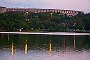 Belo Horizonte_MG, Brasil...Em primeiro plano Lagoa da Pampulha, ao fundo Estadio Governador Magalhaes Pinto (Mineirao) em Belo Horizonte, Minas Gerais...Pampulha Lake and in the background Governador Magalhaes Pinto stadium (Mineirao) in Belo Horizonte, Minas Gerais...Foto: JOAO MARCOS ROSA / NITRO