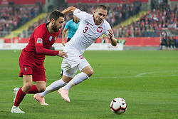 October 11, 2018 - Chorzow, Poland - Bernardo Silva (POR), Artur Jedrzejczyk (POL) during the UEFA Nations League A group three match between Poland and Portugal at Silesian Stadium on October 11, 2018 in Chorzow, Poland. (Credit Image: © Foto Olimpik/NurPhoto via ZUMA Press)