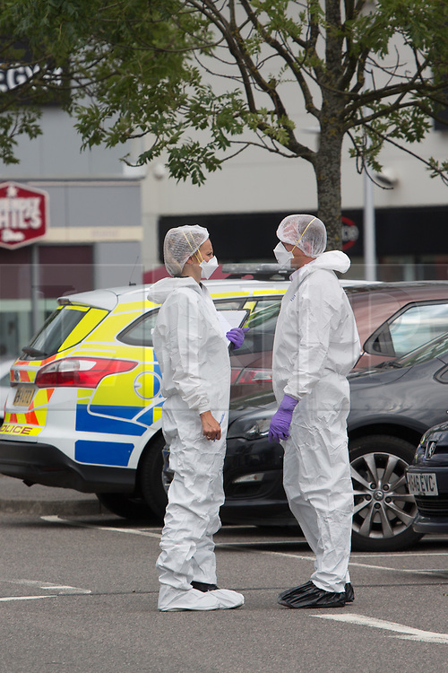 © Licensed to London News Pictures. 29/06/2017. Chatham, UK. Emergency services at the Dockside Outlet shopping centre in Chatham following an incident this morning when a woman reportedly had her throat slit. Photo credit : Rob Powell/LNP