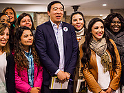 27 APRIL 2019 - STUART, IOWA: ANDREW YANG, candidate for the Democratic nomination for the US presidency, poses for pictures with women voters at the Reaching Rural Voters Forum in Stuart. The forum was an outreach by Democrats in Iowa's 3rd Congressional District to mobilize Democratic voters statewide. Iowa saw one of the largest shifts from Democrats to Republicans in the 2016 Presidential election and Trump won the state by double digits. Republicans control the governor's office and both chambers of the Iowa legislature. Iowa traditionally hosts the the first selection event of the presidential election cycle. The Iowa Caucuses will be on Feb. 3, 2020.                                   PHOTO BY JACK KURTZ