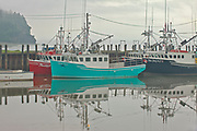 Fishing boats in fog<br />Alma<br />New Brunswick<br />Canada