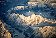 Aerial view of snow capped Alpine mountain peaks around Chamonix, France