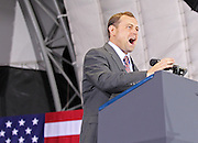 Oct 29, 2010. Virginia 5th District Representative Congressman Tom Perriello shows his excitement during a campaign rally with President Barack Obama Friday at the Charlottesville Pavilion in downtown Charlottesville, Va. Photo/Andrew Shurtleff