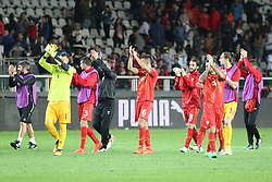 October 6, 2017 - Turin, Piedmont, Italy - Macedonian players celebrate the unexpected draw against Italy after the FIFA World Cup European Qualifying match between Italy and FYR Macedonia at Olympic Grande Torino Stadium on 6 October, 2017 in Turin, Italy. (Credit Image: © Massimiliano Ferraro/NurPhoto via ZUMA Press)