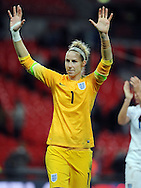 England Women goalkeeper Karen Bardsley applauds the fans at the end of the game<br /> - Womens International Football - England vs Germany - Wembley Stadium - London, England - 23rdNovember 2014  - Picture Robin Parker/Sportimage