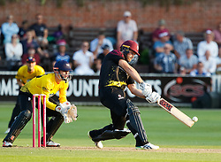 Somerset's Corey Anderson strikes the ball<br /> <br /> Photographer Simon King/Replay Images<br /> <br /> Vitality Blast T20 - Round 1 - Somerset v Gloucestershire - Friday 6th July 2018 - Cooper Associates County Ground - Taunton<br /> <br /> World Copyright © Replay Images . All rights reserved. info@replayimages.co.uk - http://replayimages.co.uk