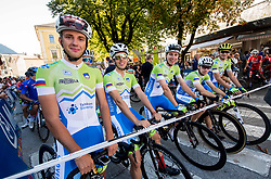 Ziga Jerman, Ziga Horvat, Tadej Pogacar, Izidor Penko and Jaka Primozic of Slovenia during the Men Under 23 Road Race 179.9km Race from Kufstein to Innsbruck 582m at the 91st UCI Road World Championships 2018 / RR / RWC / on September 28, 2018 in Innsbruck, Austria.  Photo by Vid Ponikvar / Sportida
