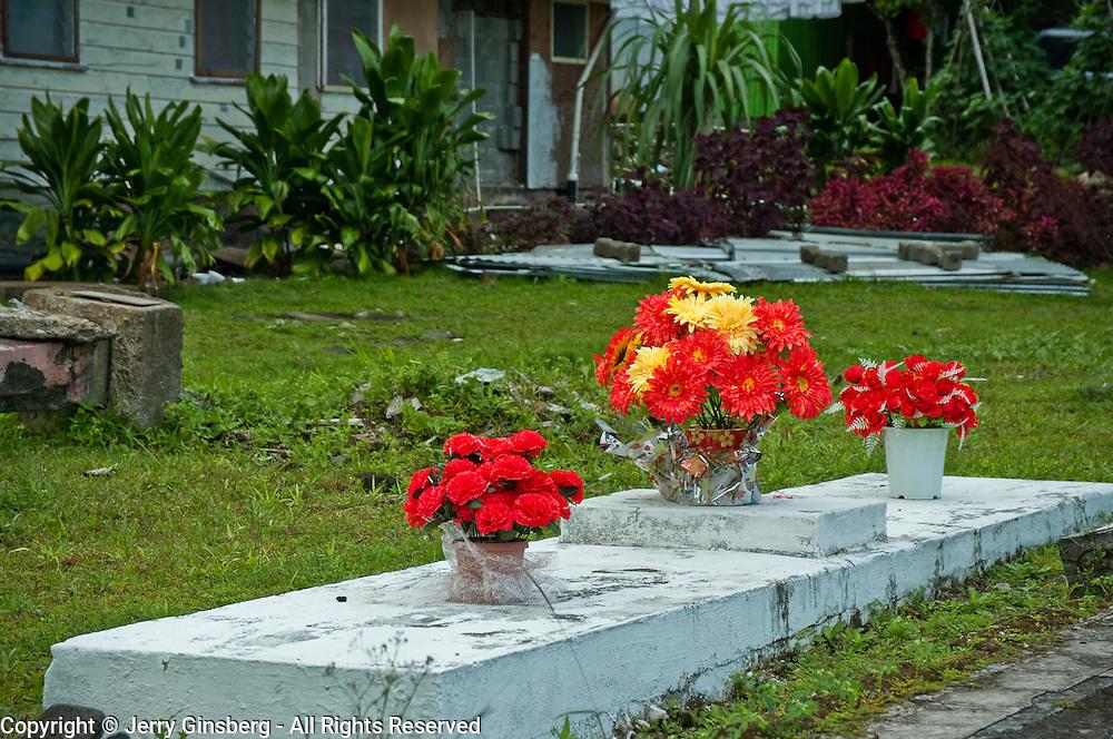 Traditional cemetery, Pago Pago, Tutuila Island, American Samoa.