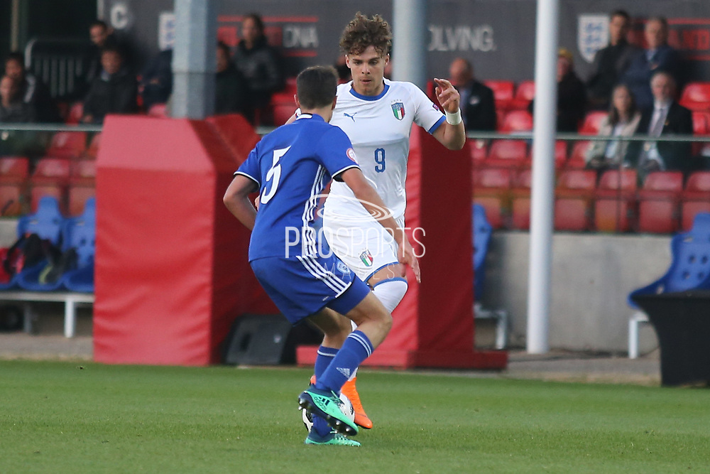 Edoardo Vergani of Italy (9) takes on Rony Laufer of Israel (5) during the UEFA European Under 17 Championship 2018 match between Israel and Italy at St George's Park National Football Centre, Burton-Upon-Trent, United Kingdom on 10 May 2018. Picture by Mick Haynes.