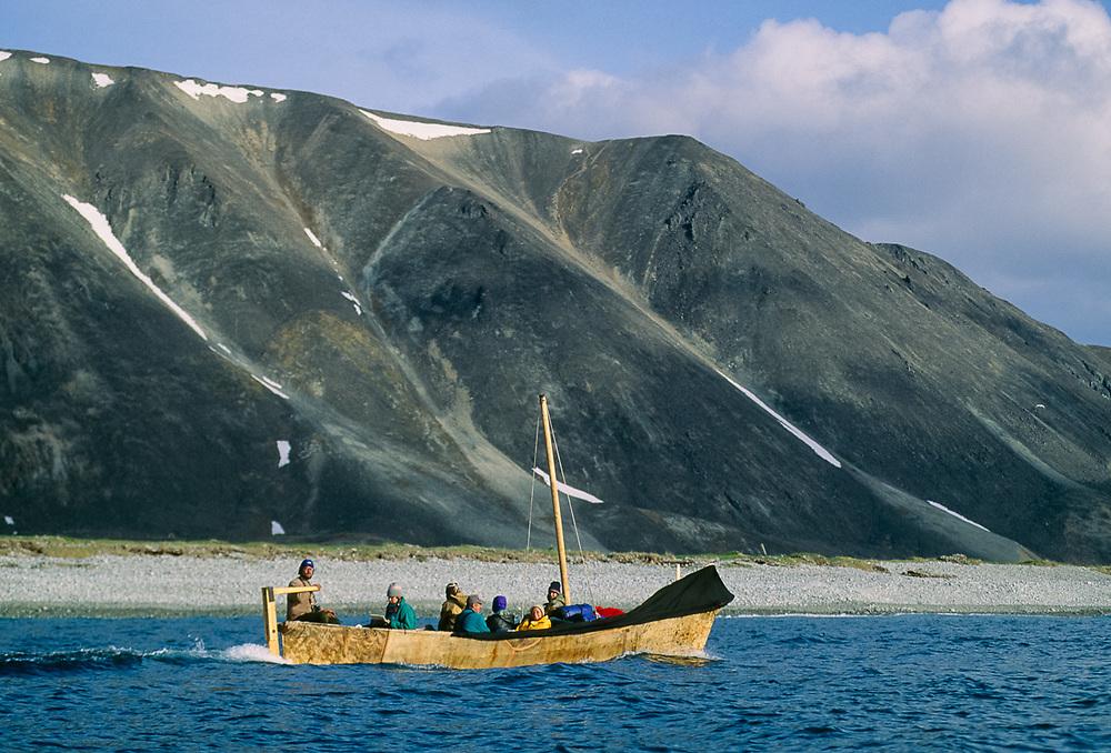 Umiak, Bering Sea Coastline, Chukotsk Peninsula, NE, Russia, 1992