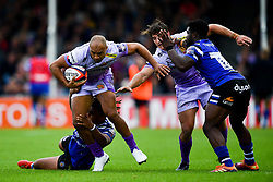 James Short of Exeter Chiefs is tackled by Levi Davis of Bath Rugby - Mandatory by-line: Ryan Hiscott/JMP - 21/09/2019 - RUGBY - Sandy Park - Exeter, England - Exeter Chiefs v Bath Rugby - Premiership Rugby Cup