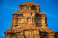 Detail architecture of a Cham temple in Po Sah Inu towers, Binh Thuan Province, Vietnam, Southeast Asia