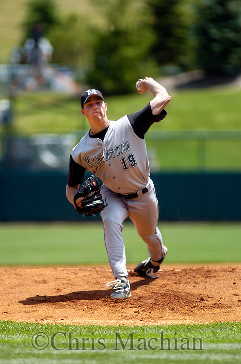 6/2/06 Lincoln, NE Manhattan University pitcher Chris Cody pitches in the first inning against the  University of Nebraska at Haymarket Park in Lincoln Ne Friday afternoon.  Manhattan won 4-1. Cody threw 142 pitches in a complete game. (Chris Machian/Prairie Pixel Group)