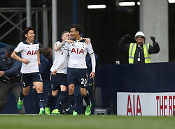 30 April 2017 London : Premier League Football : Tottenham Hotspur v Arsenal :<br /> a construction worker celebrates the first Tottenham goal, scored by Dele Alli.<br /> Photo: Mark Leech
