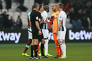 Goalkeeper Darren Randolph of West Ham United complains to Referee Michael Oliver after full time. Premier league match, West Ham Utd v West Bromwich Albion at the London Stadium, Queen Elizabeth Olympic Park in London on Saturday 11th February 2017.<br /> pic by John Patrick Fletcher, Andrew Orchard sports photography.