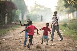 Children play near the Tepi coffee plantation in Kaffa Ethiopia.