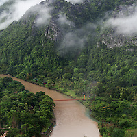 Early morning view over Vang Vieng, seen from a balloon.