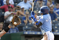 September 13, 2017 - Kansas City, Missouri, U.S. - Kansas City Royals' WHIT MERRIFIELD  is hit by a pitch in the eighth inning during Wednesday's baseball game against the Chicago White Sox at Kauffman Stadium. The White Sox won, 5-3. (Credit Image: © John Sleezer/TNS via ZUMA Wire)
