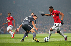 Anthony Martial of Manchester United takes on Ruben Dias of Benfica - Mandatory by-line: Matt McNulty/JMP - 31/10/2017 - FOOTBALL - Old Trafford - Manchester, England - Manchester United v Benfica - UEFA Champions League Group A