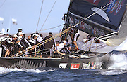 Team New Zealand hoist a spinnaker as NZL82 starts into leg four of race two of the America's Cup 2003. 16/2/2003 (© Chris Cameron 2003)