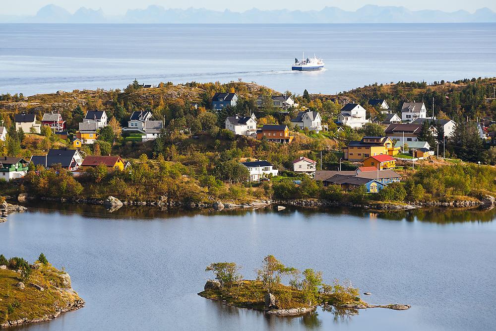 The ferry from Bodo passes the town of Sorvagen on Moskenesoya, Lofoten Islands, Norway.