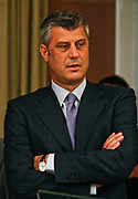 Kosovo Prime Minister Hashim Thaçi stands withdrawn during a press conference in Pristina on Sunday, June 14, 2009. The three members of the so-called 'troika' arrived in Pristina trying to break the deadlock over Kosovo, whose leaders want full independence. Serbia and its ally Russia, a veto-wielding permanent member of the U.N. Security Council, oppose independence. Kosovo has been under U.N. and NATO administration since a 78-day NATO-led air war halted a Serb crackdown on ethnic Albanian separatists in 1999.  (Photo/ Vudi Xhymshiti)