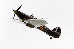 A vintage second world Hawker Hurricane fighter performs a fly past at the Northallerton Wartime Weekend 2010<br /> Image © Paul David Drabble