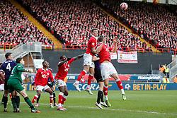 Aden Flint of Bristol City clears - Photo mandatory by-line: Rogan Thomson/JMP - 07966 386802 - 25/01/2015 - SPORT - FOOTBALL - Bristol, England - Ashton Gate Stadium - Bristol City v West Ham United - FA Cup Fourth Round Proper.