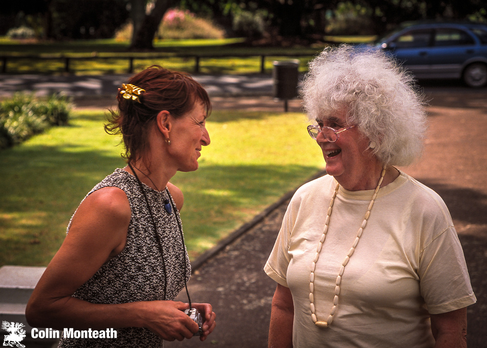 New Zealand mountaineer Lydia Bradey (1st woman to climb Chomolungma without supplementary oxygen) chats with English writer Jan Morris at Sir Edmund Hillary's funeral, Auckland, January 2008. (Jan Morris was a member of the 1953 British Mount Everest expedition...she was then James Morris, reporter for The Times newspaper in London)
