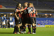 Bournemouth striker Glenn Murray celebrates goal during the The FA Cup third round match between Birmingham City and Bournemouth at St Andrews, Birmingham, England on 9 January 2016. Photo by Alan Franklin.