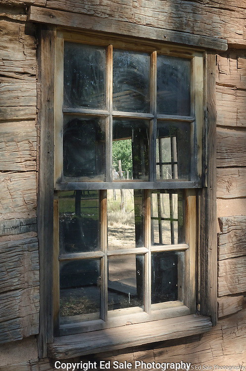 Window in old wooden house in Grafton, Utah ghost town.  Location of bicycle scene from movie Butch Cassidy and the Sundance Kid