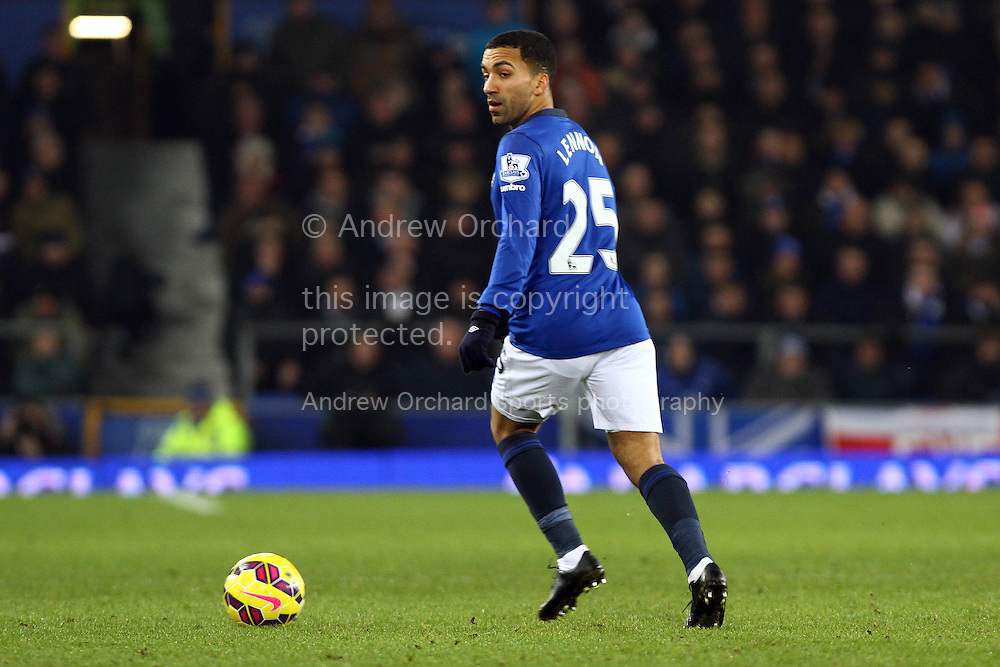 Aaron Lennon of Everton in action. Barclays Premier league match, Everton v Liverpool at Goodison Park in Liverpool, Merseyside on Saturday 7th February 2015<br /> pic by Chris Stading, Andrew Orchard sports photography.
