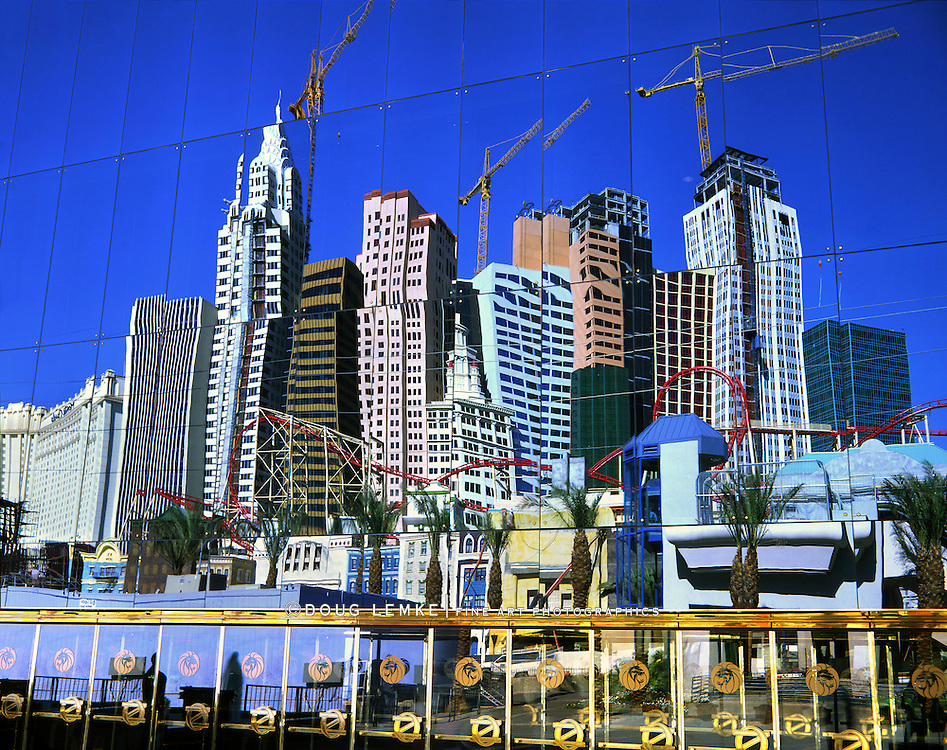 New York New York While Under Construction Reflected In The Facade Of The MGM Grand Hotel, Las Vegas Nevada, USA, 1995