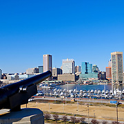 View of Baltimore's city skyline and Inner Harbor from Federal Hill